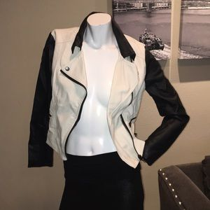 Black and cream faux leather jacket